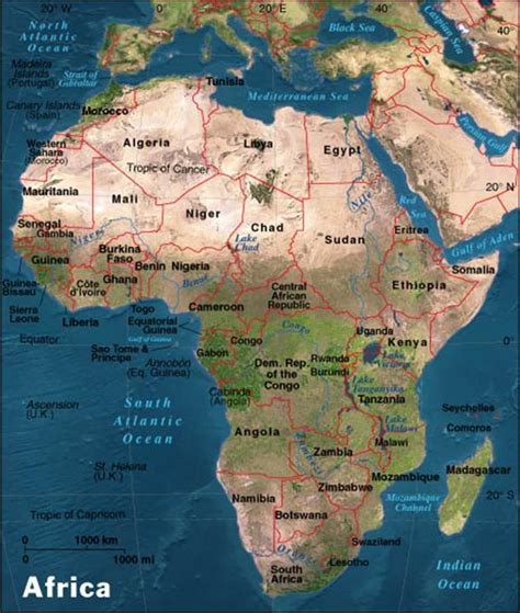 africa map geographical features maps of america