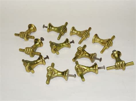 set of 11 antique solid brass w stick drawer door