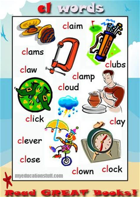 Bathroom Items Starting With P Cl Word List Words Starting With Cl Phonics Poster For Your Word Wall The Fridge Or