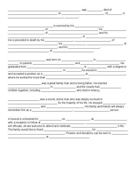 Fill In The Blank Obituary Template best photos of fill in the blank obituary fill in the