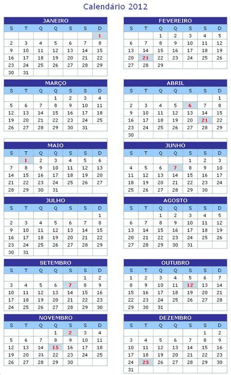 Calendario De 2012 Calend 193 2012 Feriados Nacionais Imprimir 2o12