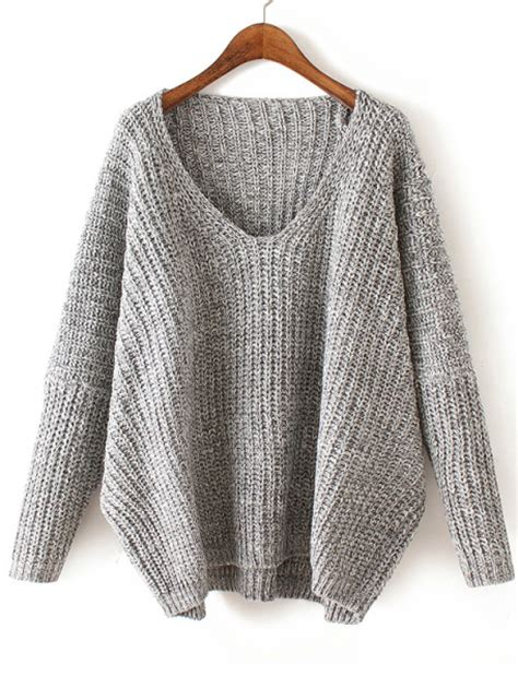 how to knit v neck sweater v neck chunky knit pale grey dolman sweaterfor romwe