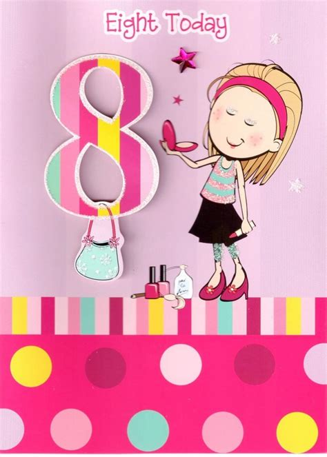 Good Gift Cards For Girls - girls 8th birthday 8 eight today card cards love kates