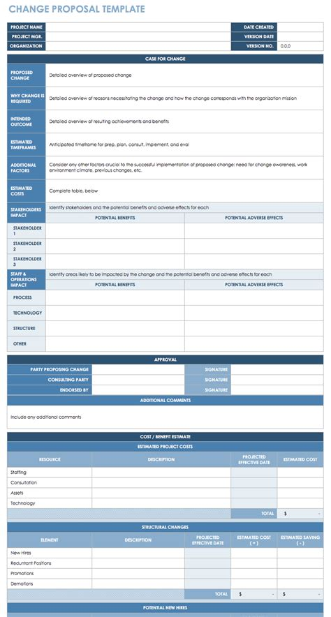 change management process template free change management templates smartsheet