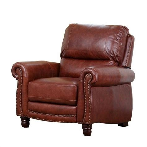 abbyson recliner abbyson living aron leather recliner in brown sk 3183 brn