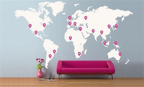 Large World Map Wall Stickers large world map office vinyl wall sticker vinyl
