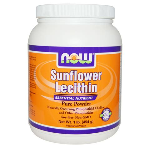 supplement lecithin now foods sunflower lecithin powder 1 lb 454 g