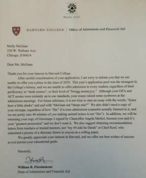 Rejection Letter Indeed this harvard rejection letter went viral but it s