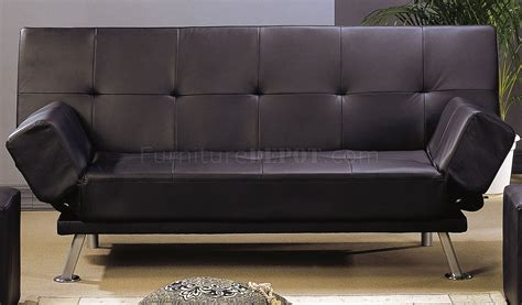 sofa bed legs black leather like finish contemporary sofa bed w chrome legs