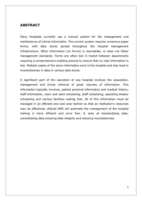 thesis abstract for inventory system hospital management system