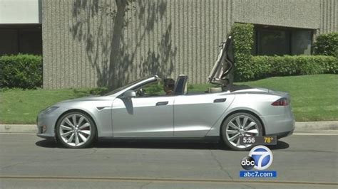 Convertible Tesla Model S Tesla Model S Convertible Hits The Streets Of San