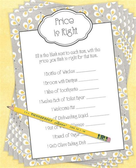 printable price is right bridal shower game bridal shower game or wedding reception game price is