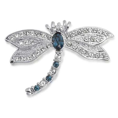 jewelry pins vintage silver tone blue sapphire color cz dragonfly