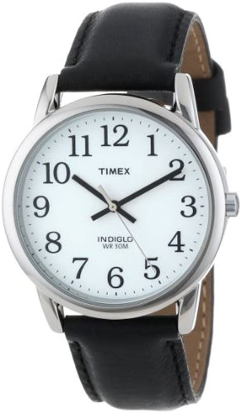 timex s t205019j easy reader black leather