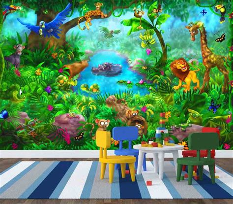 wallpaper for walls jungle theme safari themed toddler room bedroom simple jungle painting