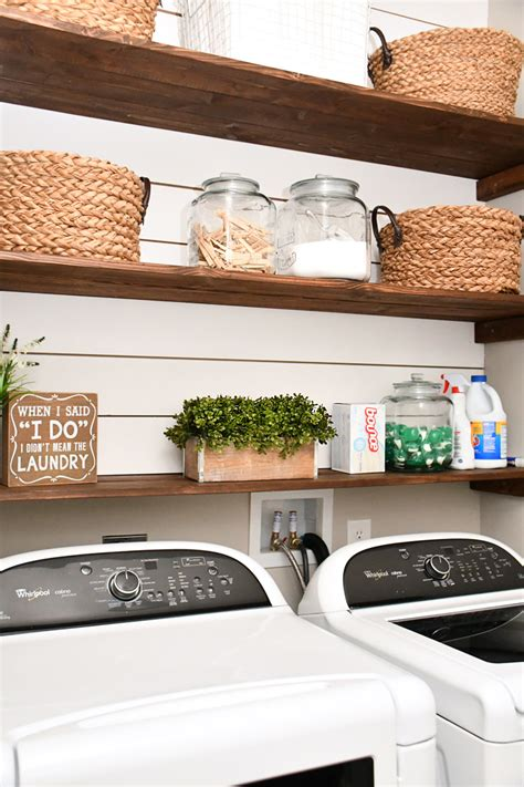 laundry room shiplap and diy wood shelves easy tutorial