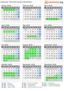 Kalender 2018 Nrw Kalenderwochen Kalender 2018 Ferien Nordrhein Westfalen Feiertage