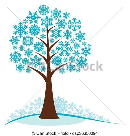 winter tree snowflakes stock vector winter tree with snowflakes concept winter tree stylized frozen winter tree isolated on white
