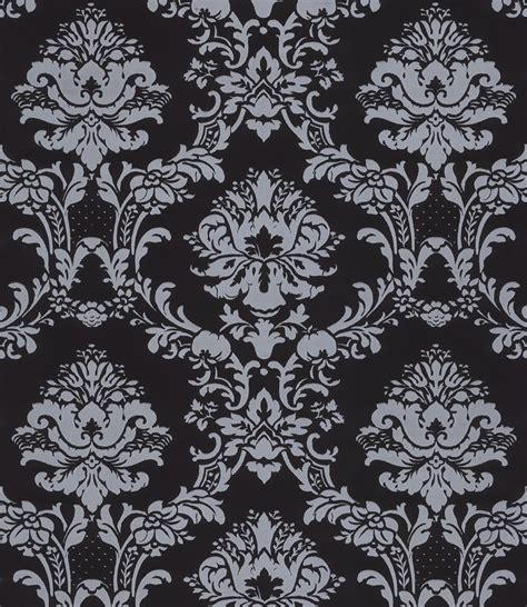 black victorian pattern silver on black victorian stencil damask wallpaper