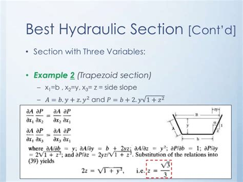 best hydraulic section for trapezoidal channels general formulation of best hydraulic channel section
