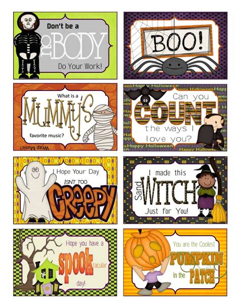 printable halloween note cards printable halloween lunchbox notes super cute