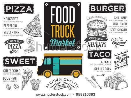 coq a doodle do food truck menu coffee menu placemat food restaurant brochure stock vector
