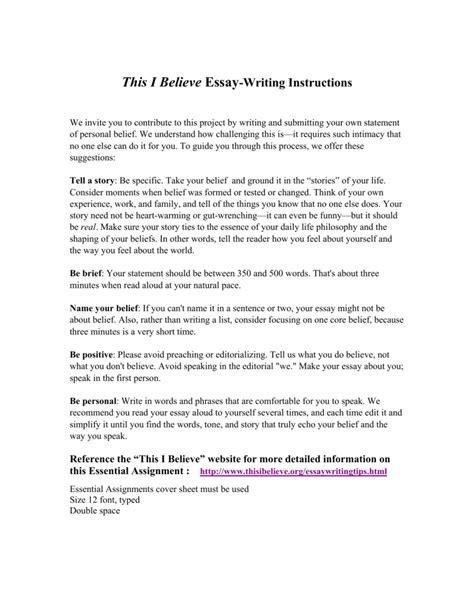 This I Believe Essay Topic Ideas by I Believe Essays Topics