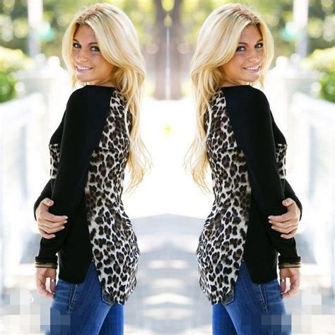 Cy50829 T Shirt Top Blouse Printed Import leopard printed sleeve chiffon t shirt tops blouse shirt fashion ebay