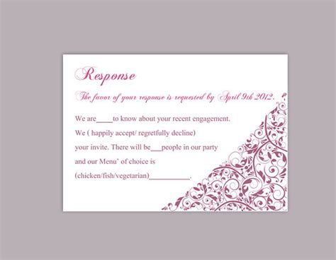 response cards for wedding template diy wedding rsvp template editable text word file