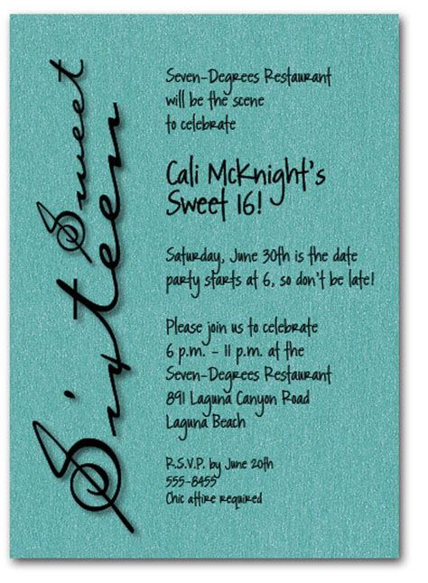 sweet sixteen shimmery teal invitation 16th birthday