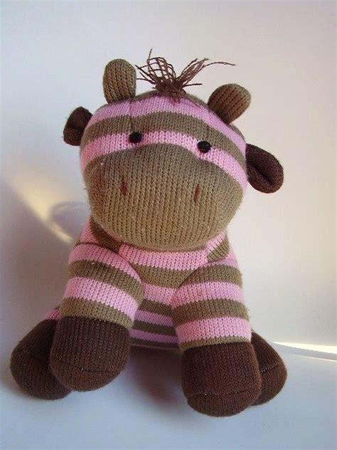 pink brown striped giraffe plush stuffed animal knitted