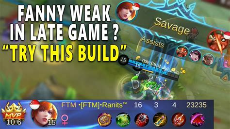 build fanny  late game savage kill mobile