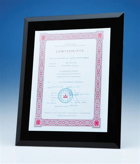 black glass frame for graduation certificate a4