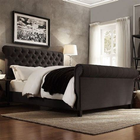 gray sleigh bed homevance vanderbilt tufted sleigh bed 1 495 liked on
