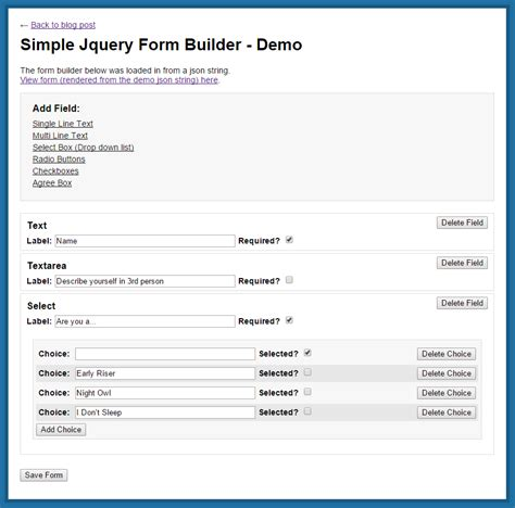 simple jquery plugin template simple jquery form builder free for use in your projects