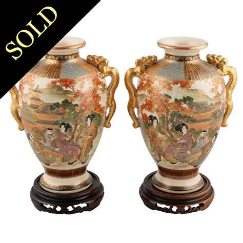 Japanese Pottery Vases by Pair Of Satsuma Pottery Vases Japanese Vases Antique
