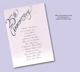 wedding invitation wording 25th wedding anniversary invitation card sle