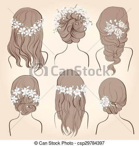 wedding hairstyles drawing eps vectors of set of different vintage style hairstyles