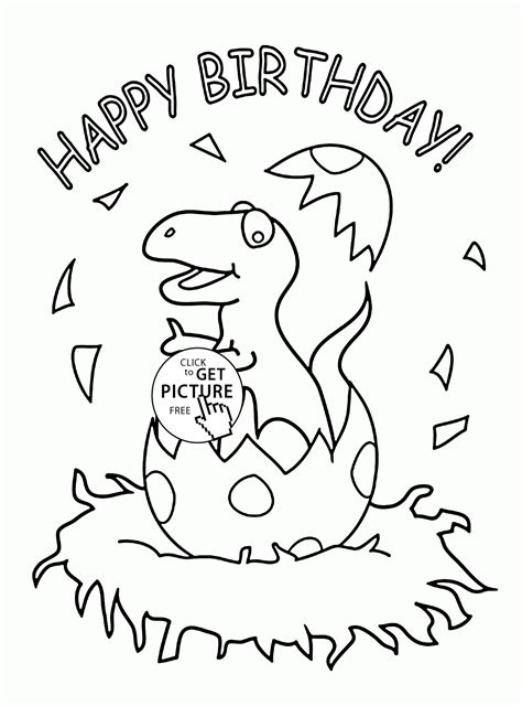 printable birthday cards dinosaur free little dinosaur and happy birthday coloring page for kids