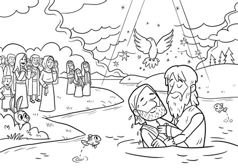 coloring page of jesus being baptized baptism of jesus coloring page coloring pages designs