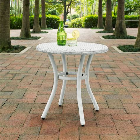 white outdoor side table palm harbor white outdoor wicker side table crosley
