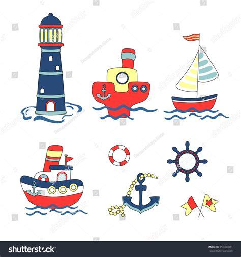 nautical design baby nautical set vector illustration stock vector