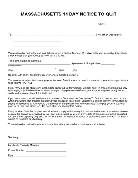 Massachusetts 14 Day Notice To Quit Form Free Download Eviction Notice Template Massachusetts