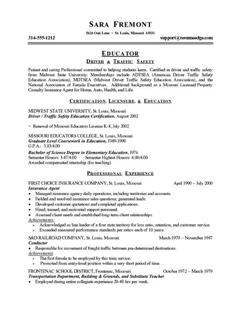 Entry Level Resume Examples by Driving Instructor Resume