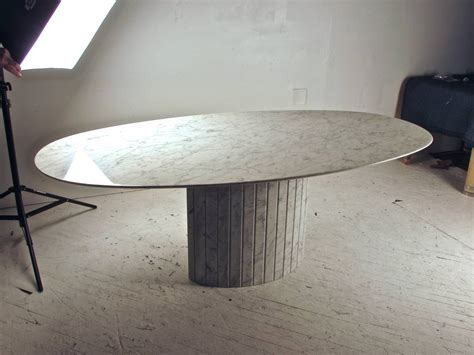 elliptical dining table oval knife edge carrara marble dining table italy circa