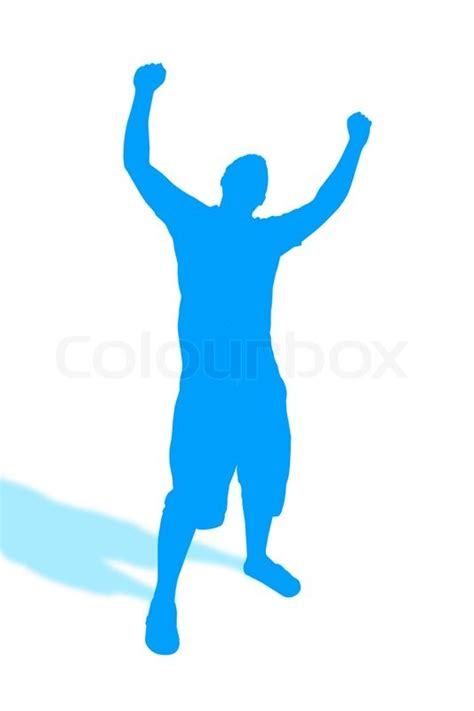 01032b Silhoutte Ii Blue a blue silhouette of a throwing his up in the