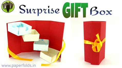 How To Make A Big Gift Box Out Of Paper - tower stepper gift box diy tutorial by paper