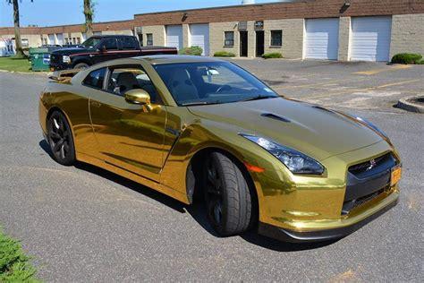 nissan gtr wrapped gold gold chrome gtr wrap wrapfolio