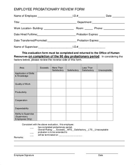 review form template sle employee review form 7 exles in pdf word