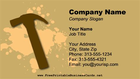 free handyman business card templates print handyman hammer business card